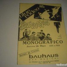 Música de colección: THE BEAT FARMERS, BLU RODEO, MONOGRAFICO EN BAUHAUS . CARTEL 14,5 X 10 CM. Lote 109895435