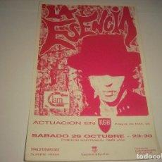 Música de colección: LA ESENCIA , ACTUACION EN KGB. CARTEL DE 19,5 X 12,5 CM. Lote 109897031