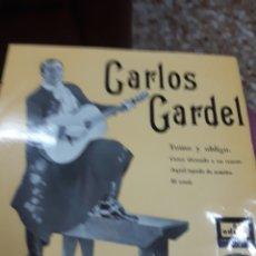 Música de colección: DISCO VINILO: CARLOS GARDEL.-TOMOY OBLIGO Y 3 CANCIONES MÁSAÑO1958. Lote 110529650