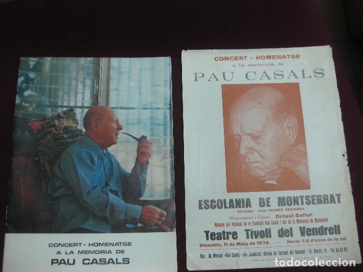 PROGRAMA CONCERT - HOMENATGE A PAU CASALS. ESCOLANIA DE MONTSERRAT. TEATRE TIVOLI DEL VENDRELL. 1974 (Música - Varios)