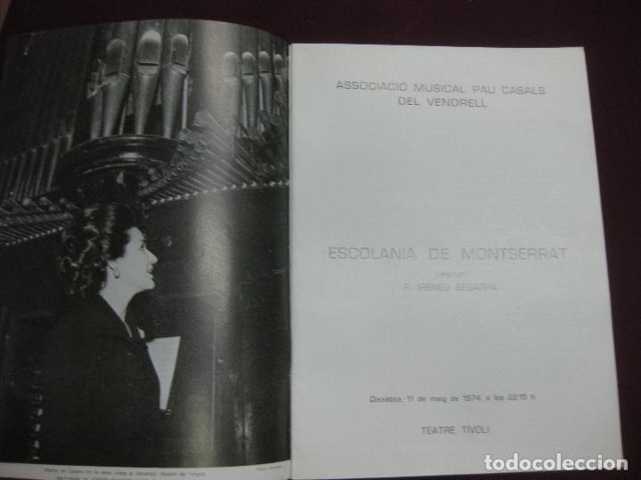Música de colección: PROGRAMA CONCERT - HOMENATGE A PAU CASALS. ESCOLANIA DE MONTSERRAT. TEATRE TIVOLI DEL VENDRELL. 1974 - Foto 2 - 119968088