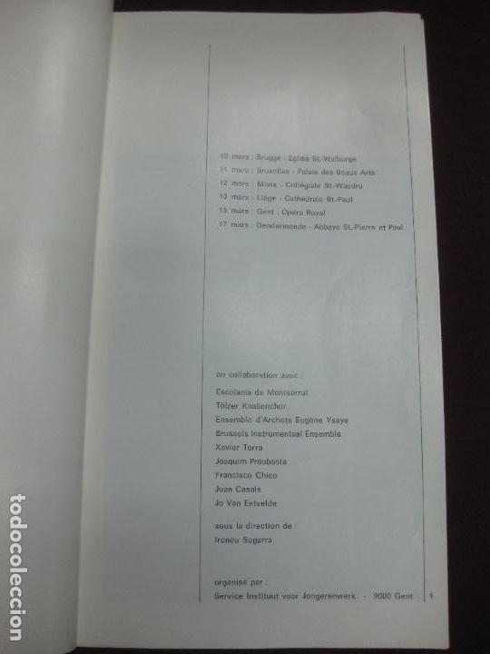 Música de colección: PROGRAMA CONCIERTOS ESCOLANIA DE MONTSERRAT EN BELGICA. - Foto 2 - 119960991