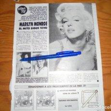 Musique de collection: RECORTE PRENSA : MARILYN MONROE, EL MITO SIGUE VIVO. CLAN T.V, JUNIO 1987. Lote 121963607