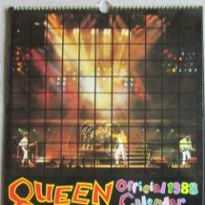 Música de colección: QUEEN CALENDARIO 1988. 41 X 30 CM. 12 GRANDES FOTOS, 1 POR MES. ORIGINAL U.K.. Lote 125122451