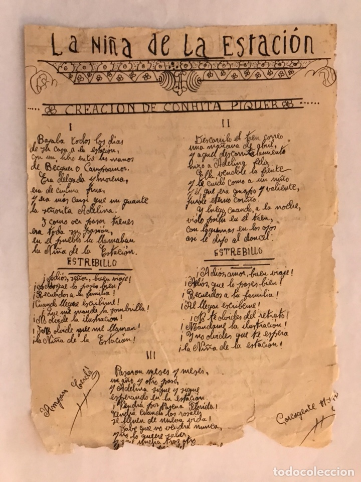 CARCAGENTE. LA NIÑA DE LA ESTACIÓN. BONITA REPRODUCCIÓN ESCRITA POR UNA CANTANTE LOCAL (1933) (Música - Varios)