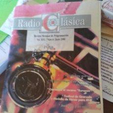 Música de colección: REVISTA MENSUAL DE PROGRAMACIÓN DE RADIO CLÁSICA - JUNIO 2000. Lote 126784319
