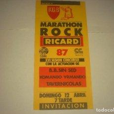 Música de colección: MARATHON ROCK 87 EN KGB. B.B. SIN SED. KOMANDO ARMANDO , TAVERNICOLAS . INVITACION.. Lote 128289703