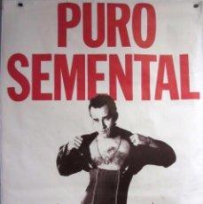 Música de colección: LOS COYOTES DE VICTOR ABUNDANCIA. PURO SEMENTAL (1989). CARTEL ORIGINAL PROMOCIONAL 100 X 140 CMS.. Lote 128391695
