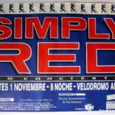 Música de colección: SIMPLE RED. CARTEL ORIGINAL DE CONCIERTO EN VELÓDROMO DE ANOETA, SAN SEBASTIÁN, 1/11/1988. 88X127 CM. Lote 128394171