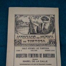 Música de colección: PROGRAMA DIPTICO ATENEU DE TORTOSA .- CONCIERTO ORQUESTA FEMENINA DE BARCELONA 1935. Lote 191575506