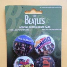 Música de colección: THE BEATLES 4 CHAPAS IMPERDIBLE NUEVO PRECINTADO (4 CM DIAMETRO). Lote 131598418