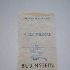 Música de colección: ARTHUR RUBINSTEIN PROGRAMA SEVILLA 1959 // CICLO MUSICAL - VI FESTIVAL INTERNACIONAL. Lote 133722982
