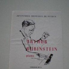 Música de colección: ARTHUR RUBINSTEIN - PROGRAMA TEATRO LOPE DE VEGA SEVILLA 1973 // PUB. CASA DAMAS PIANO STEINWAY. Lote 133724342