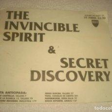 Música de colección: THE INVINCIBLE SPIRIT & SECRET DISCOVERY EN KGB.. Lote 134211210