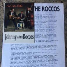 Musique de collection: POSTAL Y HOJA PROMOCIONAL DEL GRUPO JOHNNY AND THE ROCCOS . Lote 135411630