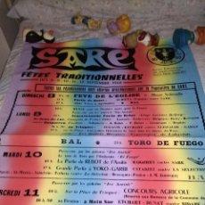 Música de colección: GRAN CARTEL FETES SARE 1968 CON BERTSOLARIS MATTIN - SALVADOR /TRINQUETE LARUCHE...ORQUESTA EL FUEGO. Lote 135850206
