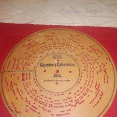 Música de colección: DISCO CARTON SIGLO XIX - PARA ORGANILLO ARISTON - GIGANTES Y CABEZUDOS - ZARZUELA . Lote 135949610