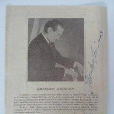 Música de coleção: SOCIEDAD FILARMÓNICA. AUTÓGRAFO DE ALEXANDER UNINSKY. LAS PALMAS 1954. Lote 138264294