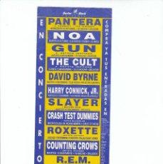 Música de colección: PANTERA-THE CULT- D. BYRNE-SLAYER-ROXETTE-R.E.M: UNICO FLYER ORIGINAL-BCNA-UNA LOCURA!!. Lote 139886214