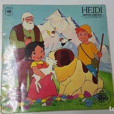 Música de colección: LP: HEIDI, HISTORIA COMPLETA CON LAS VOCES CANCIONES Y DIBUJOS ORIGINALES DE LA SERIE HEIDI. Lote 141418254