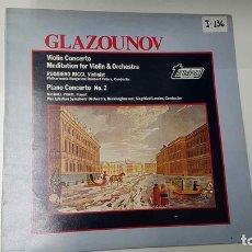 Música de colección: LP: GLAZOUNOC. VIOLIN CONCERTO, MEDITATION - PIANO CONCERTO NUM 2. RICCI, PONTI. Lote 141421560