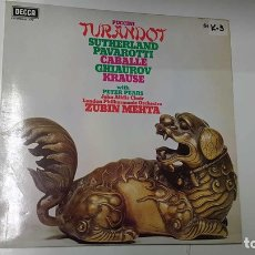 Música de colección: LP, DECCA: PUCCINI - TURANDOT. SUTHERLAND, PAVAROTTI, CABALLE, GHIAUROV, KRAUSE WITH PETER PEARS. Lote 141422429