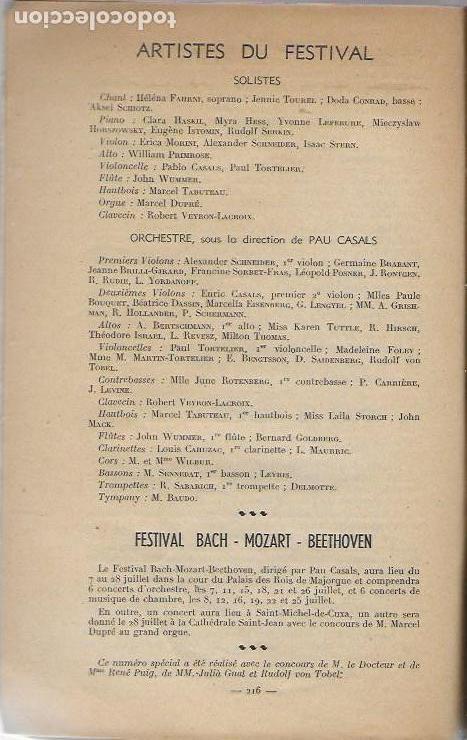 Música de colección: Pau Casals. Festival Bach Mozart Beethoven. Tramontane 335-6. Juillet-Aout 1951. 25x16cm. 64 p. - Foto 2 - 142064270