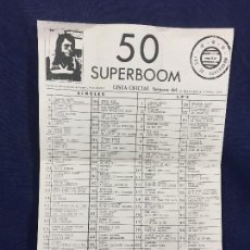 Música de colección: LISTA 50 SUPERBOOM LISTA OFICIAL 28 DICIEMBRE 3 ENERO 1982SINGLES LP´S MAITO ES UNA ANTIGUA COPIA 42. Lote 142128258