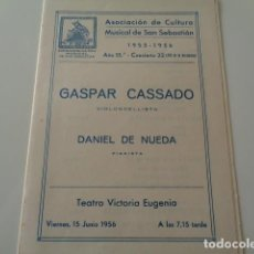 Música de colección: SAN SEBASTIAN. ASOCIACIÓN DE CULTURA MUSICAL. TEATRO VICTORIA EUGENIA. 1956. CONCIERTO. Lote 142492726