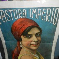 Música de colección: (M) CARTEL LITOGRAFICO PASTORA IMPERIO - PRINCIPIOS S.XX , 135 X 100 CM , SEÑALES DE USO NORMALES. Lote 143735102