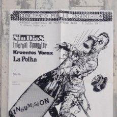 Música de colección: PÓSTER ORIGINAL ATENEO LIBERTARIO VILLAVERDE INSUMISIÓN SIN DIOS LA POLKA KRUENTOS VORAX INFERNAL S. Lote 147099114