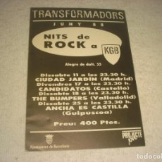 Música de colección: NITS DE ROCK EN KGB JUNY 1988 . CIUDAD JARDIN, CANDIDATOS , THE BUMPERS Y ANCHA ES CASTILLA. Lote 147773822