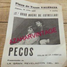 Música de colección: CARTEL DE MANO, PLAZA DE TOROS DE VALENCIA AÑO 1980. (PECOS, IVAN Y MARTES Y TRECE). Lote 149302266