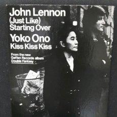 Música de colección: JOHN LENNON - BEATLES - DISPLAY - JUST LIKE STARTING OVER - PROMOCIONAL - USA - OFICIAL - RARO. Lote 154197642