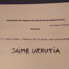 Música de colección: JAIME URRUTIA GIRA 2010. CONTRATO ACTUACIÓN. Lote 154637510
