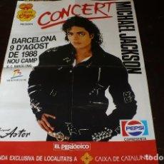 Musica di collezione: CARTEL DE CONCIERTO DE MICHAEL JACKSON EN BARCELONA EL 9 DE AGOSTO DE 1988, NOU CAMP BARCELONA.. Lote 155554678