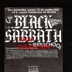 Música de colección: BLACK SABBATH: FLYER DE CONCIERTO EN ANOETA- GIRA ESPAÑOLA:ORIGINAL PIEZA ENMARCABLE-COLECCIONISTAS. Lote 156072758