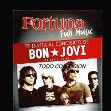 Música de colección: BON JOVI: FORTUNA CIGARRILLOS-MADRID BARCELONA TRIPTICO PUBLICITARIIO-BOUNCE TOUR- SUPER PIEZA. Lote 156098806