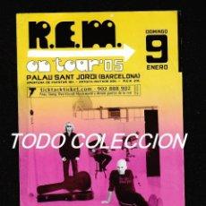 Música de colección: R.E.M: FLYER TOUR 2005- BARCELONA- RARA PIEZA COLECCIONISTAS DE LA BANDA-VEALO. Lote 156138190