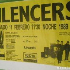 Música de colección: THE SILENCERS CARTEL POSTER ORIGINAL1989 CONCIERTO ARENA AUDITORIUM VALENCIA ESPAÑA. Lote 158934818