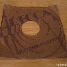 Música de colección: FUNDA DISCOS DE PIZARRA DECCA SUPREME RECORDS. Lote 160694274
