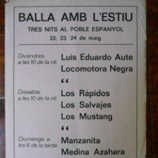 Musica di collezione: CARTEL FOLLETO CONCIERTOS POBLE ESPANYOL 1981 LOS RÁPIDOS,LOS SALVAJES,AUTE,MEDINA AZAHORA,LOS MUSTA. Lote 164095802