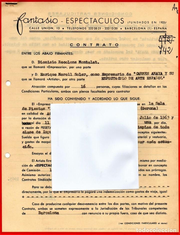 CONTRATO ACTUACION ORIGINAL CARMEN AMAYA BAILADORA GITANA,AÑO1963,FIRMADO.BAILE FLAMENCO.AÑO MUERTE (Música - Varios)
