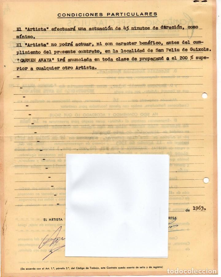 Música de colección: CONTRATO ACTUACION ORIGINAL CARMEN AMAYA BAILADORA GITANA,AÑO1963,FIRMADO.BAILE FLAMENCO.AÑO MUERTE - Foto 2 - 165786226