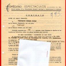 Música de colección: CONTRATO DE ACTUACION ORIGINAL DEL CANTANTE RAPHAEL,AÑO 1964, GALA REALIZADA EN BARCELONA,BALADAS. Lote 165882666