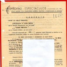 Música de colección: CONTRATO ACTUACION ORIGINAL DEL CANTANTE ITALIANO JIMMY FONTANA,AÑO 1964,AUTOR CANCION -IL MONDO-. Lote 165951954