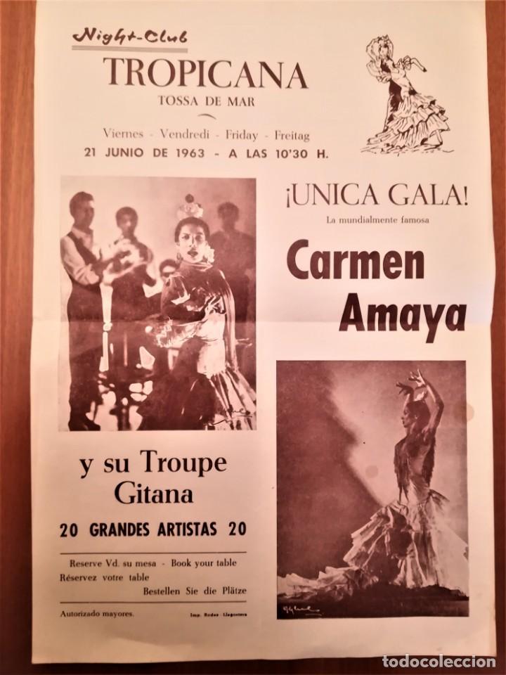 CARTEL ACTUACION DE LA BAILADORA GITANA,CARMEN AMAYA,AÑO 1963,TOSSA DE MAR,GERONA,AÑO DE SU MUERTE (Música - Varios)