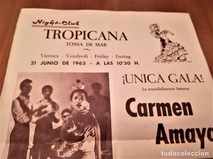 Música de colección: CARTEL ACTUACION DE LA BAILADORA GITANA,CARMEN AMAYA,AÑO 1963,TOSSA DE MAR,GERONA,AÑO DE SU MUERTE - Foto 2 - 166316002