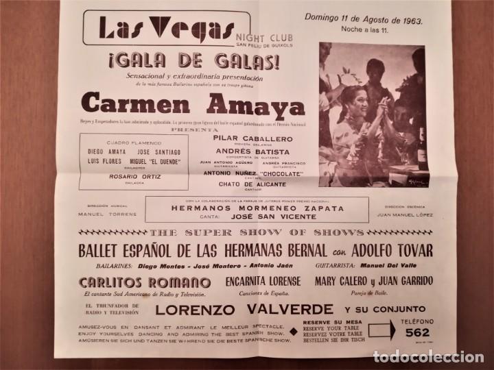 CARTEL ACTUACION DE LA BAILADORA GITANA,CARMEN AMAYA,AÑO 1963,SAN FELIU DE GUIXOLS,AÑO DE SU MUERTE (Música - Varios)