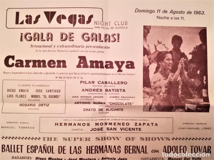 Música de colección: CARTEL ACTUACION DE LA BAILADORA GITANA,CARMEN AMAYA,AÑO 1963,SAN FELIU DE GUIXOLS,AÑO DE SU MUERTE - Foto 2 - 166316674